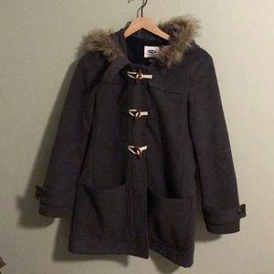 Old Navy Toggle Fur Lined Hooded Coat